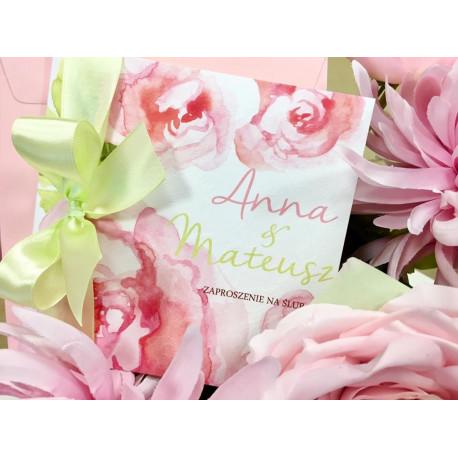 Zaproszenie ślubne Peony Flowers PINK DAMASK