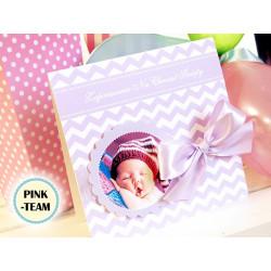 FLOWER CHEWRON- Zaproszenia dla dzieci chrzest urodziny