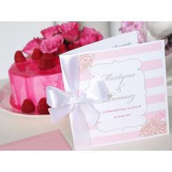 Zaproszenie ślubne Peony Flowers PLUM
