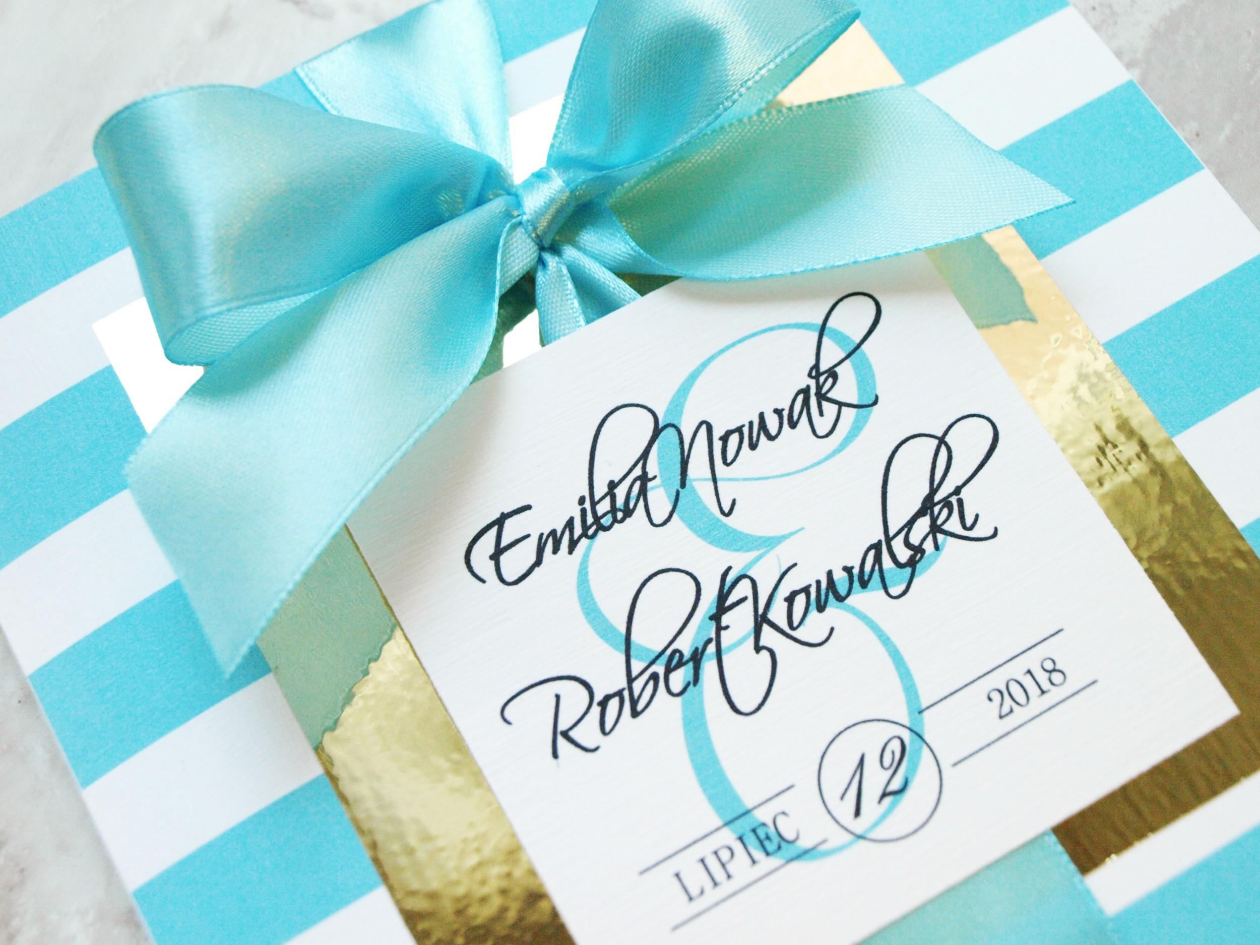 Zaproszenie ślubne Golden Mirror Tiffany Blue