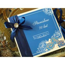 Księga Gości Peony Flowers NAVY BLUE