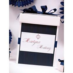 Luksusowe białe pudełko na koperty - Srebrne litery
