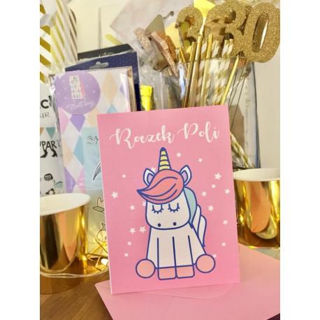 Unicorn- Zaproszenia dla dzieci chrzest urodziny