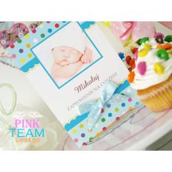 BABY DOTS- Zaproszenia dla dzieci chrzest urodziny