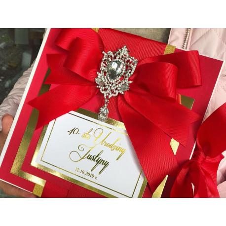 Luksusowe Księga Gości - Mirror DeLuxe z kryszałami czerwona 40 urodziny