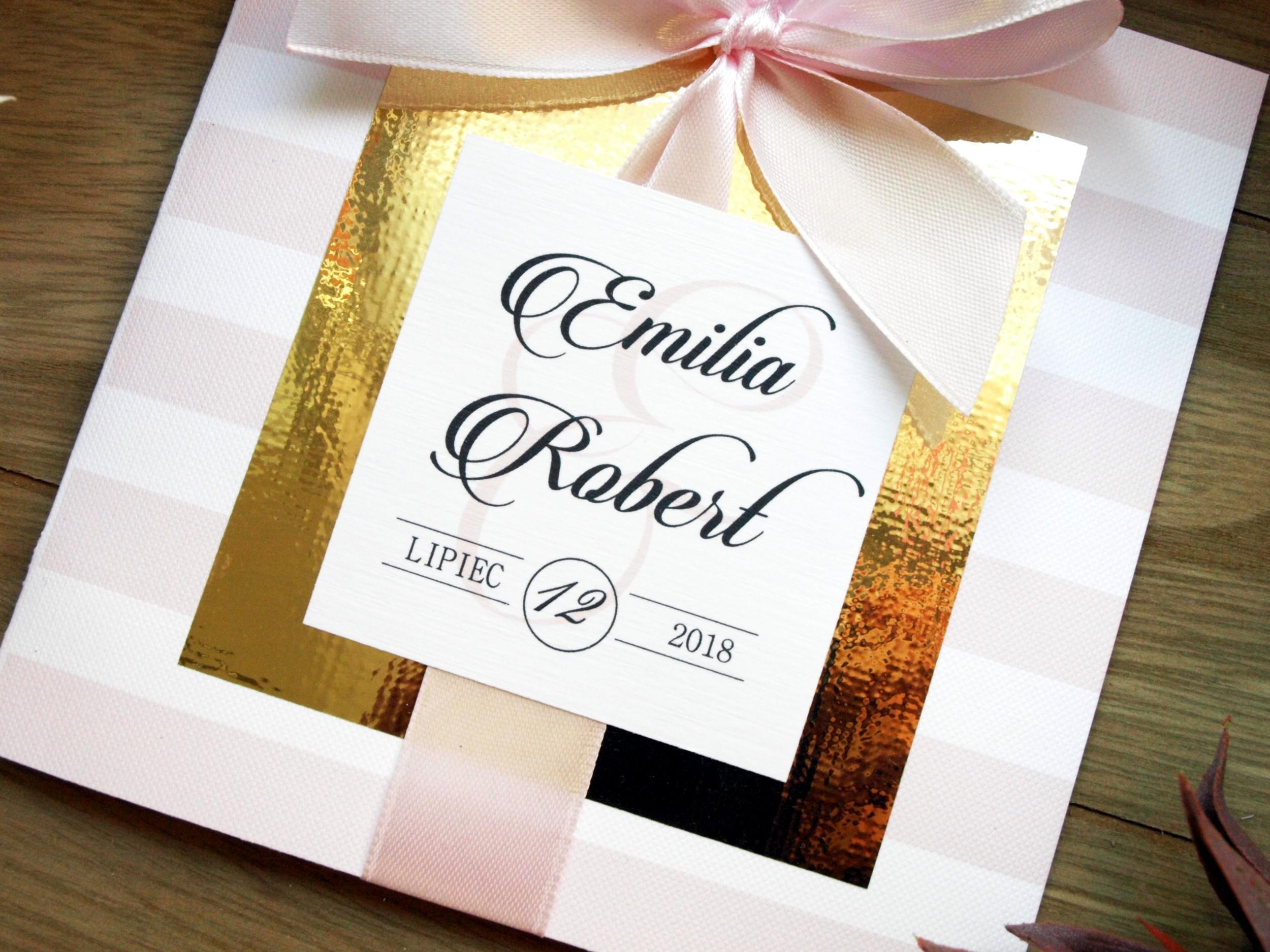 Zaproszenie ślubne Golden Mirror Pink