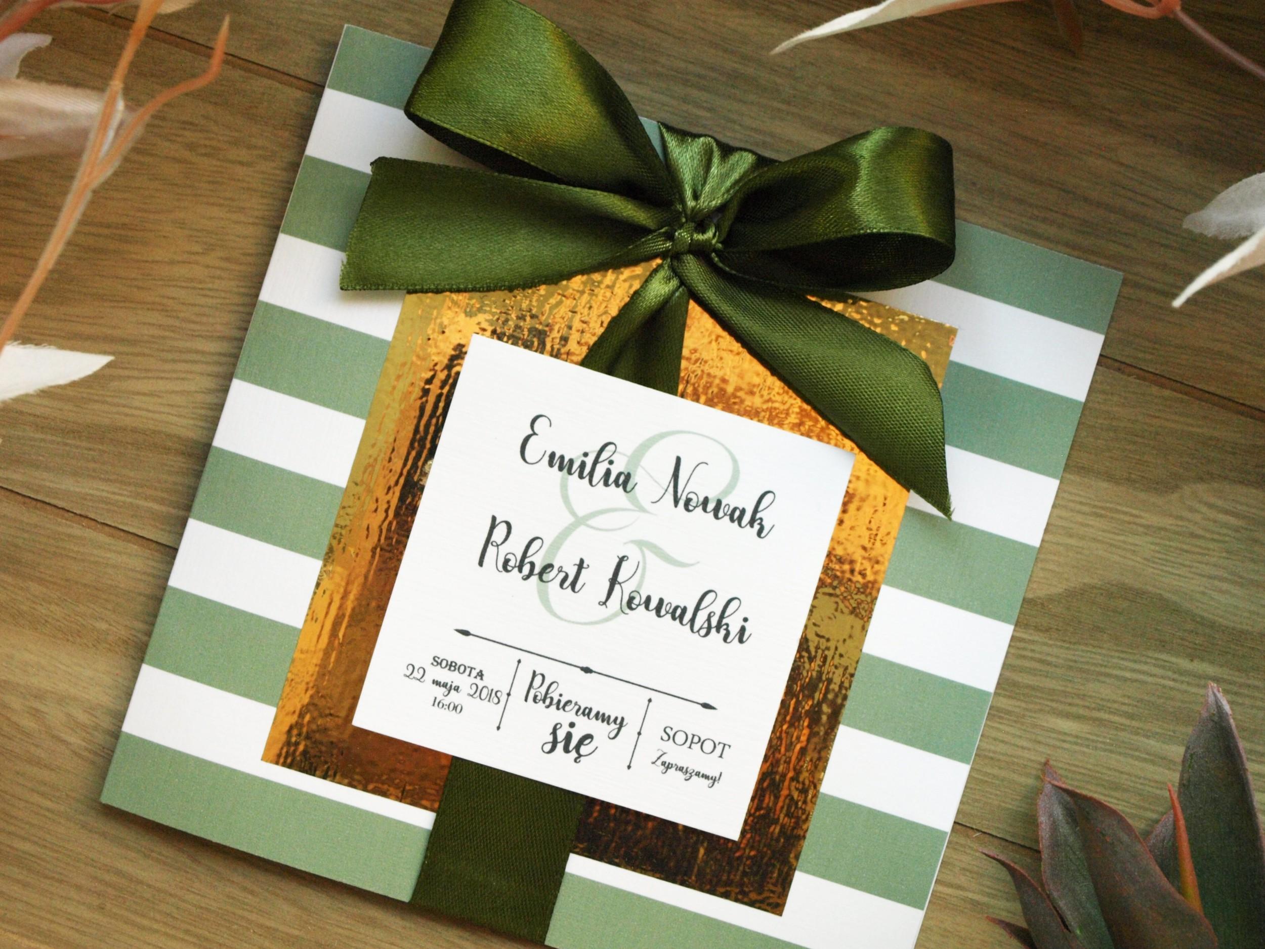 Zaproszenie ślubne Golden Mirror Green